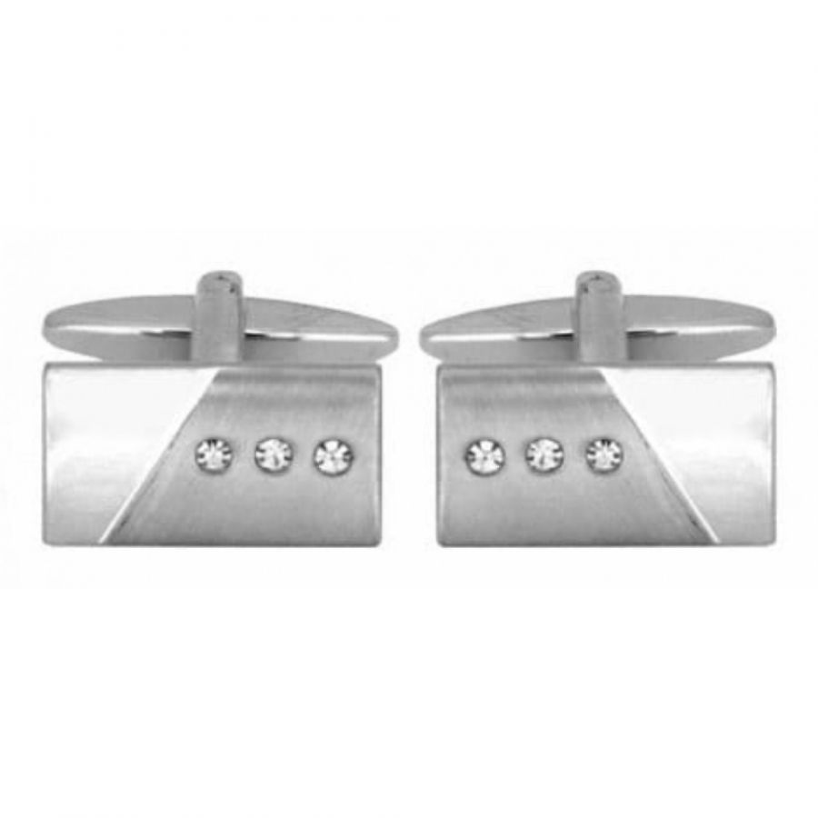 Brushed/Shiny 3 Crystals Rectangle Cufflinks
