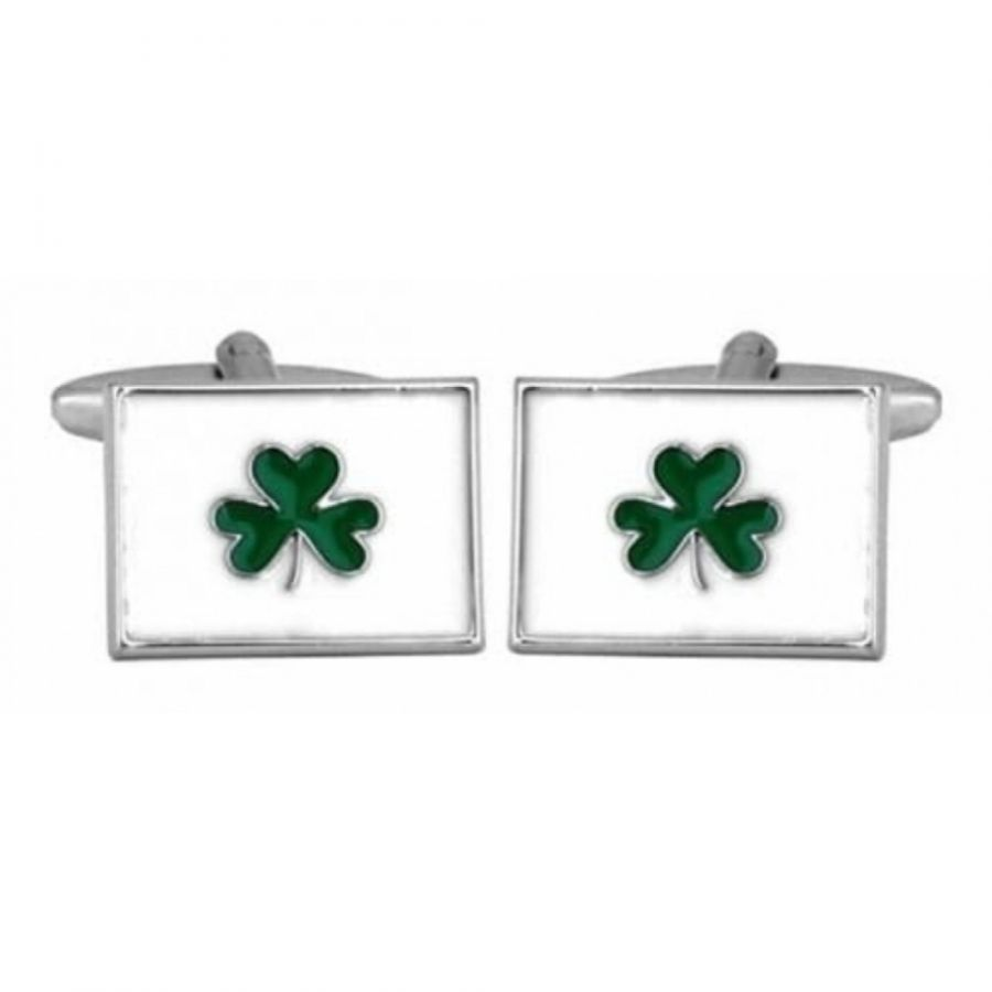 Rhodium Plated Irish Shamrock Cufflinks