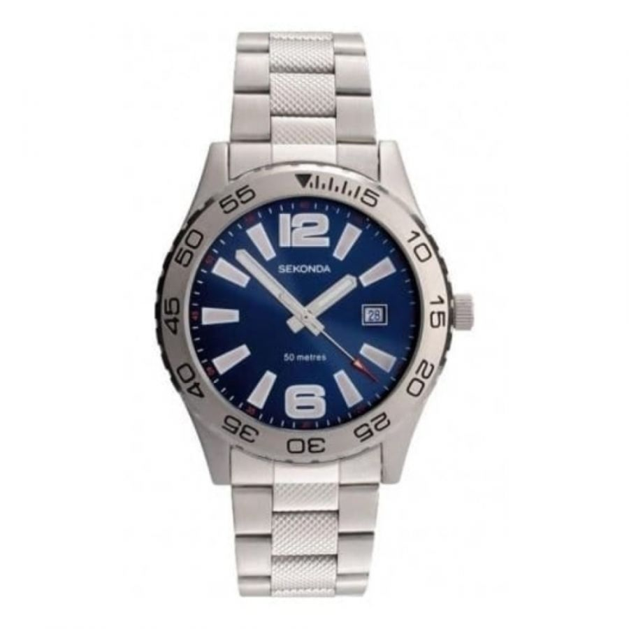 Stainless Steel Blue Dial Gents Watch