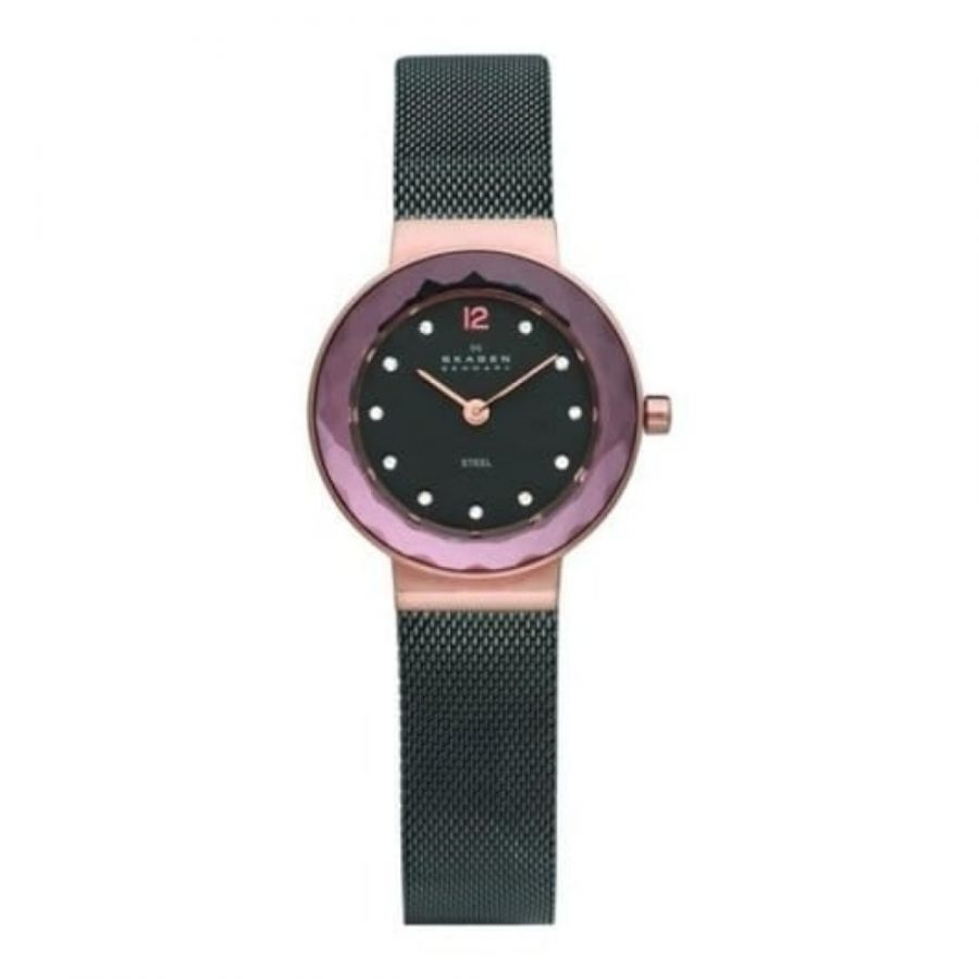 Ladies Black Steel Rose Gold Crystallised Mesh Strap Watch