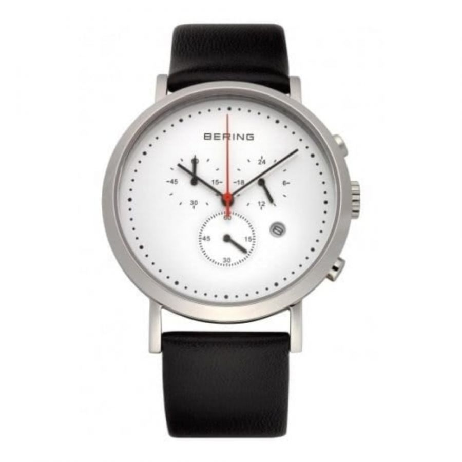 Gents Classic Black Leather Watch With Chronograph