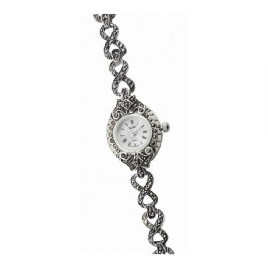 Ladies Sterling Silver Petite Watch With Marcasite Stones