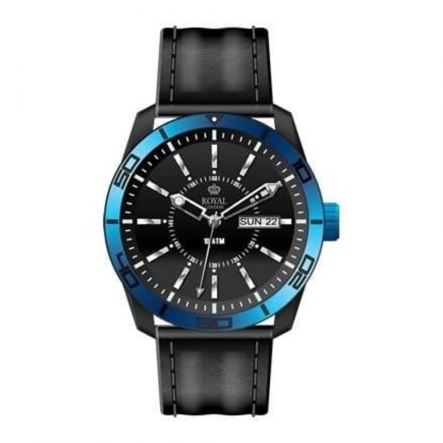 The Challenger Gents Blue Bezel Black Leather Watch