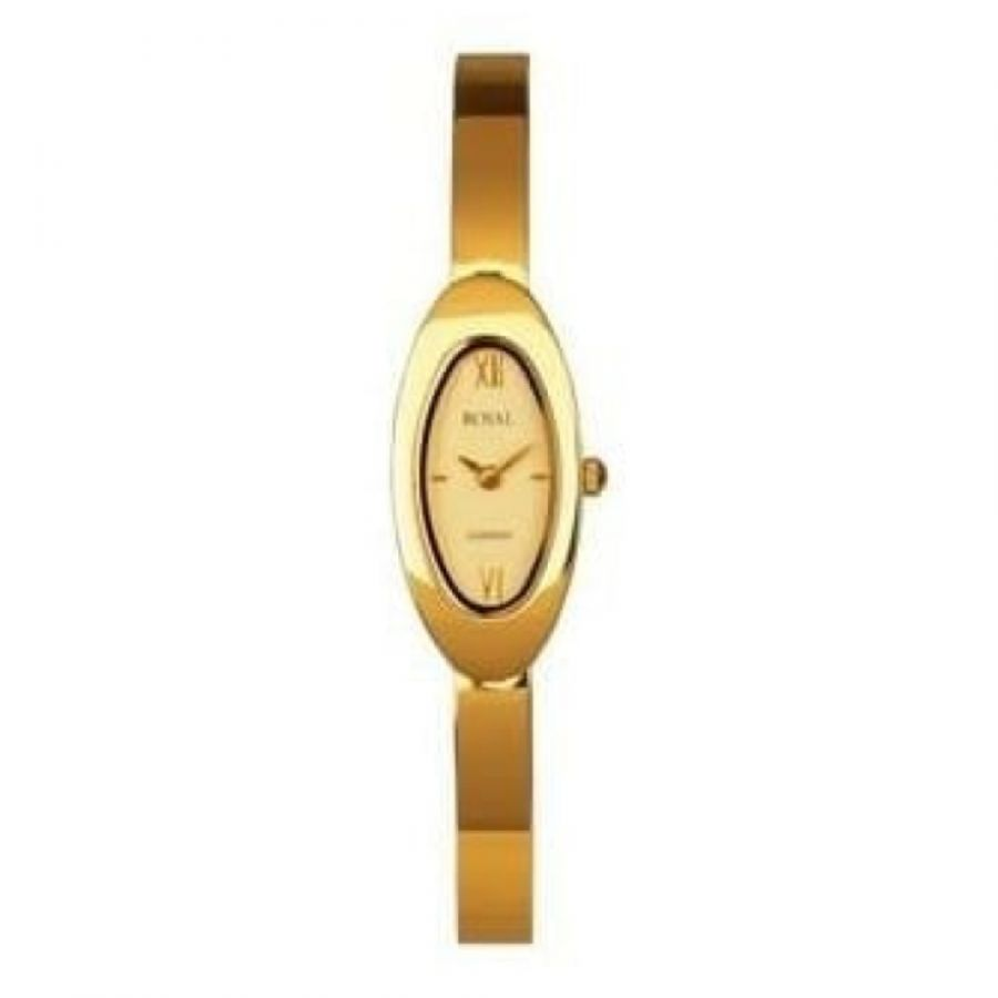 Ladies Gold Polished Stainless Steel Link Wristwatch
