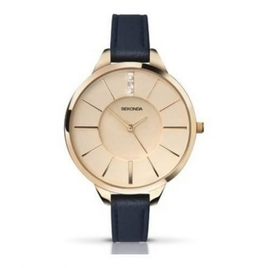 Petite Leather & Gold Steel Case Watch
