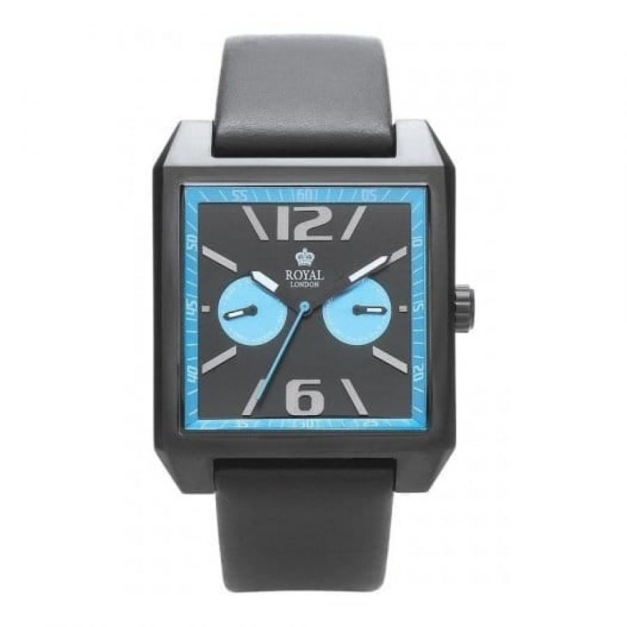 Gents Black Leather Strap Watch With Blue Details