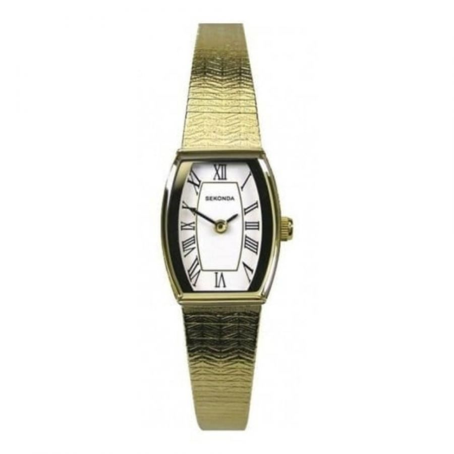 Ladies Gold Plated White Dial Watch