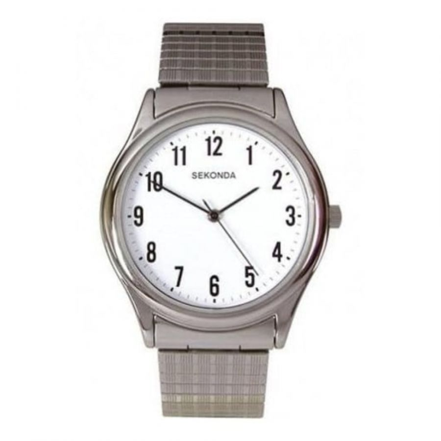 Gents Expandable Stainless Steel With White Dial Watch