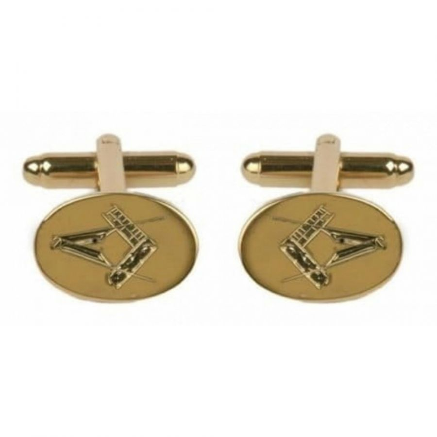 Gents Gold Plated Masonic Engraved Cufflinks