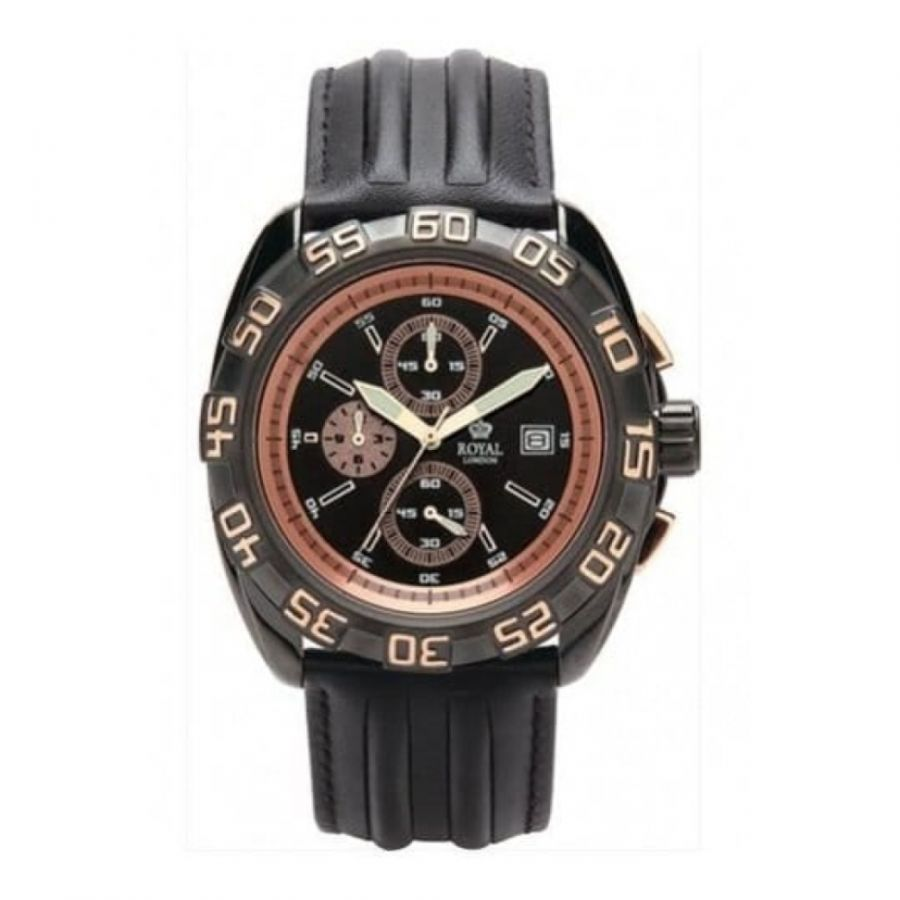 Stylish Gents Black And Bronze Chronograpgh Watch