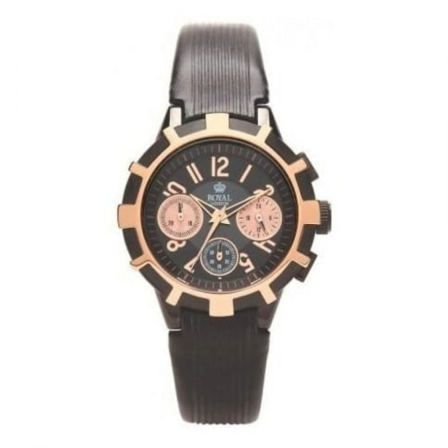 Ladies The Sky High Black Chronograph Leather Watch