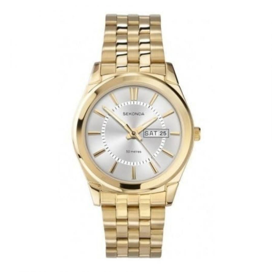 Gold Stainless Steel Date Display Watch