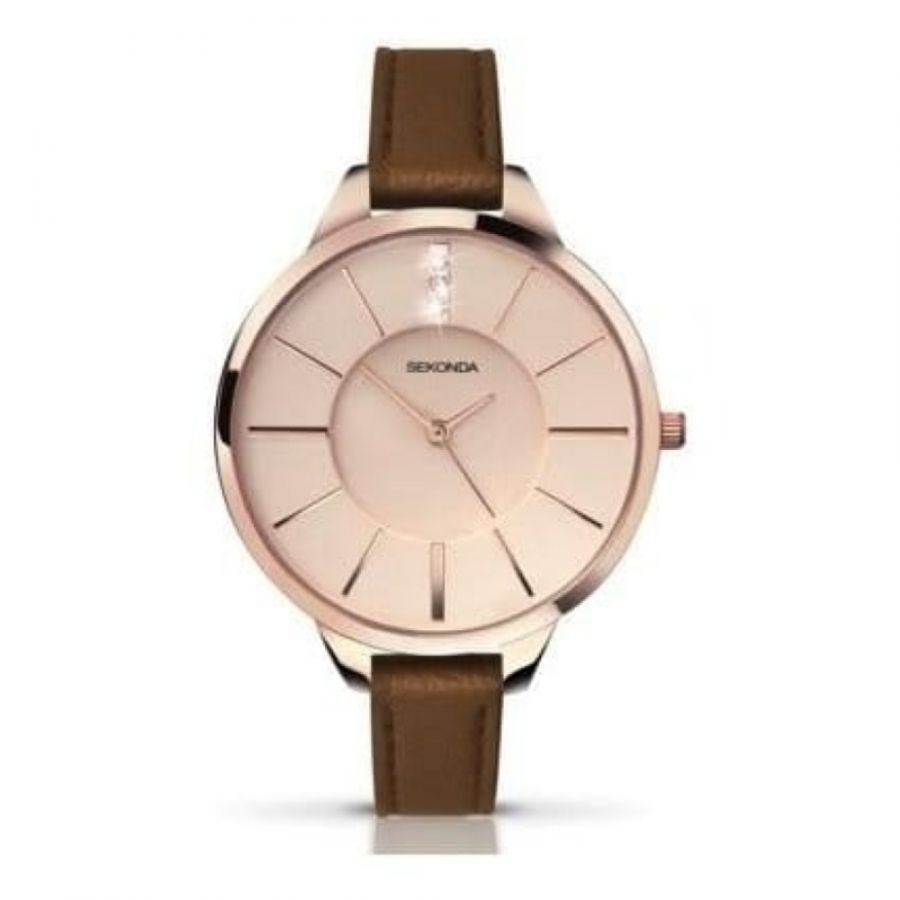 Brown Leather Ladies Rose Gold Strap Watch