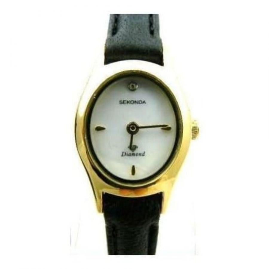 Ladies Black Leather Mother Of Pearl Strap Watch