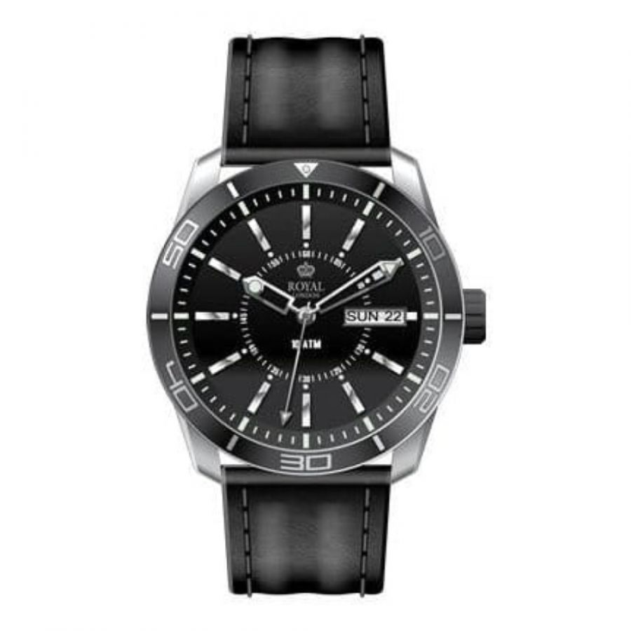 The Challenger Ladies Black Bezel Leather Strap Watch