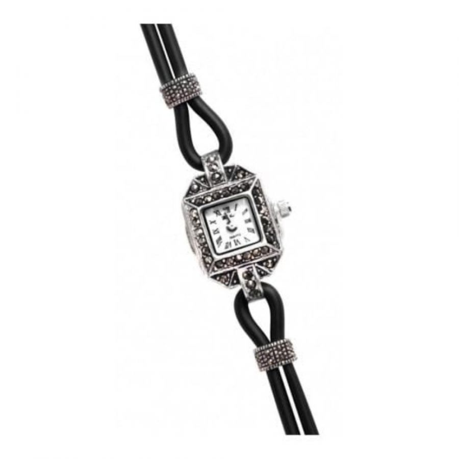 Ladies Black Rubber & Silver Marcasite Watch