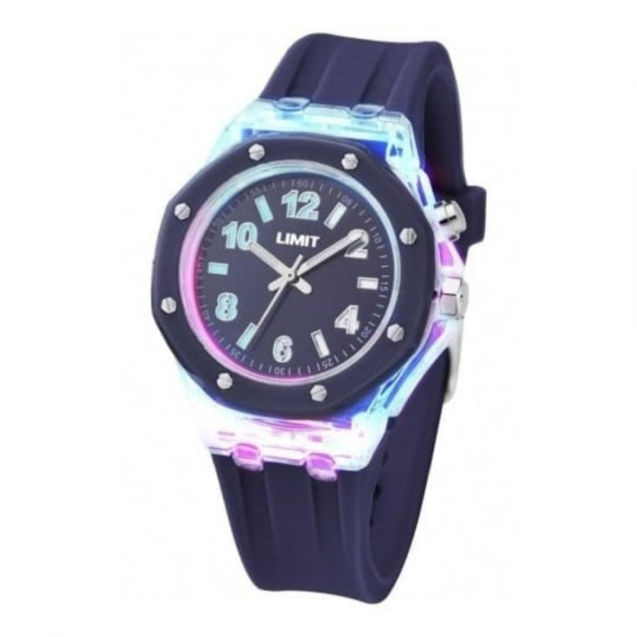 Ladies Strobe Blue Rubber Watch With Light Effects