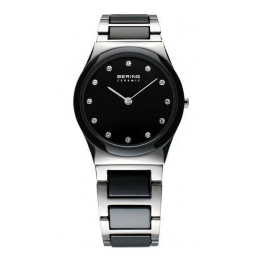 Ladies Ceramic Black & Stainless Steel Linked Watch