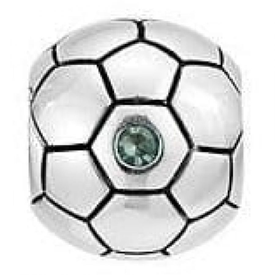 Sterling Silver Football With Green Cz Link