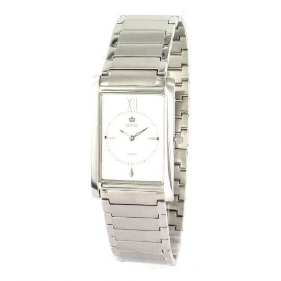 Gents Brushed And Polished Stainless Steel Square Analogue Wristwatch