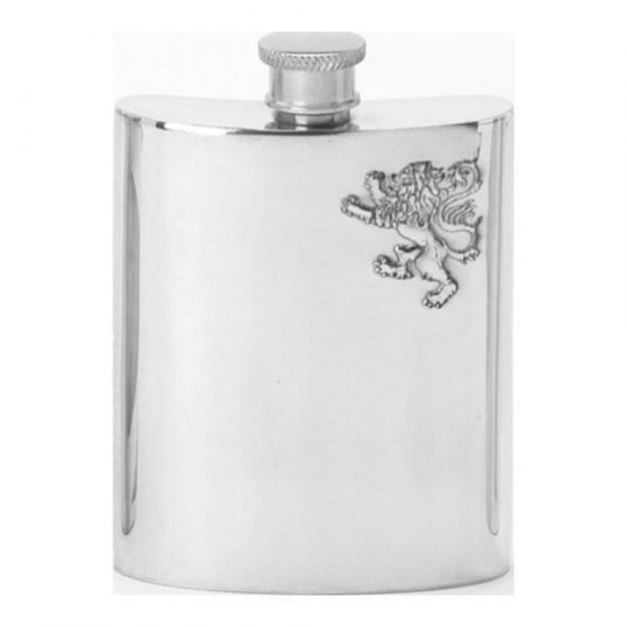 6oz Rampant Lion Polished Pewter Hip Flask