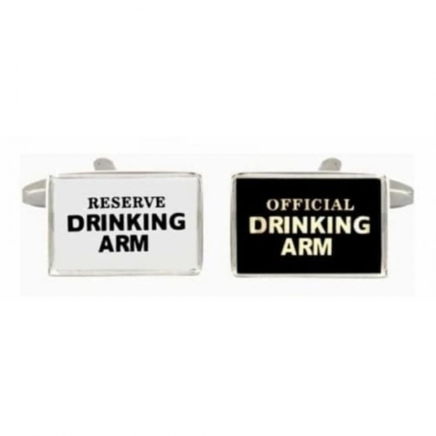 Rhodium Plated Drinking Arm Black & White Rectangle Cufflinks
