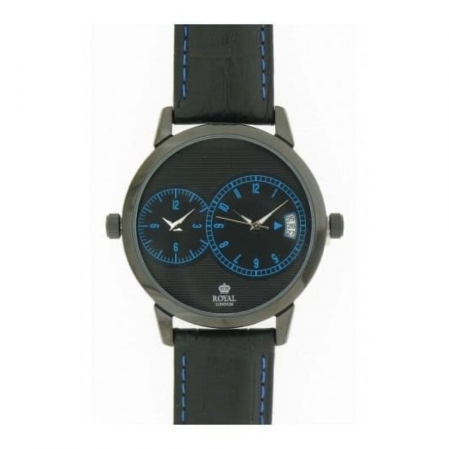 Gents Black Leather Duel Time Strap Watch