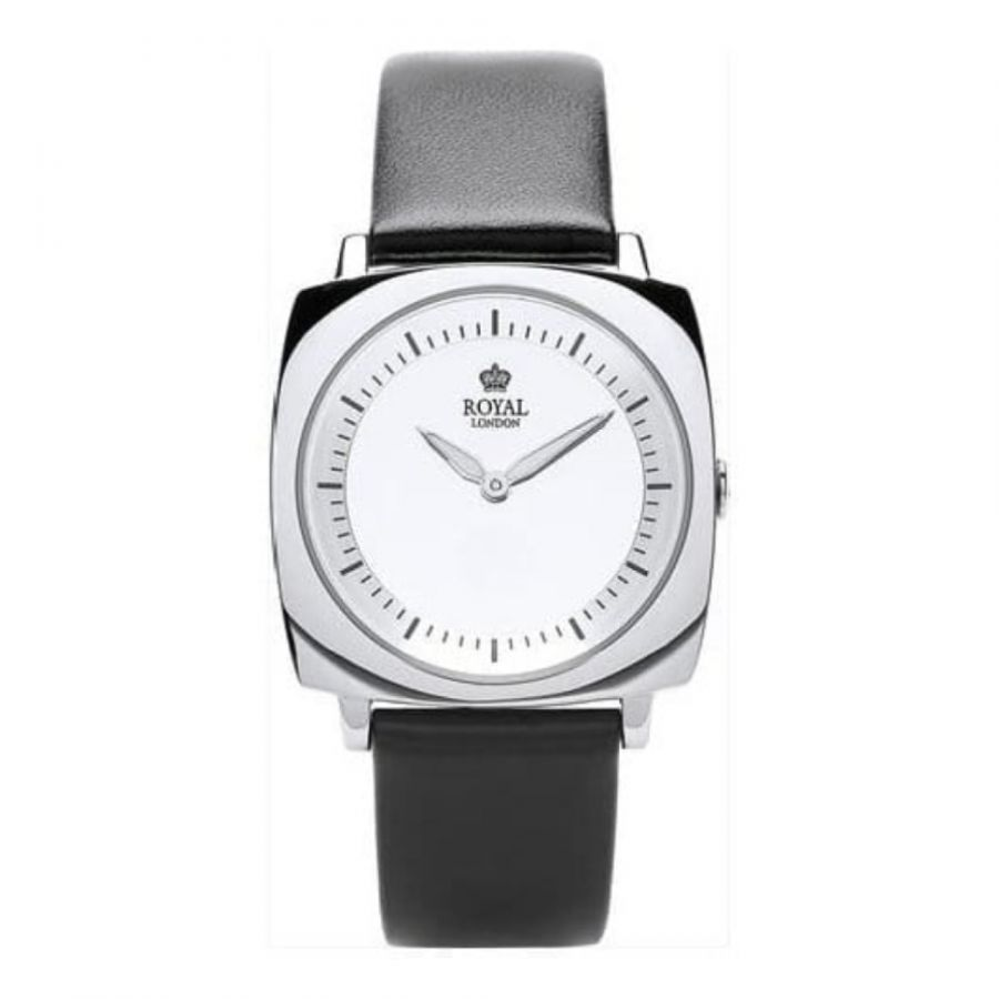 Ladies Black Leather Watch & Iluminious Hands