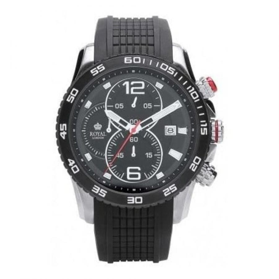 Gents Chronograph Black Rubber Strap Watch with Steel Case