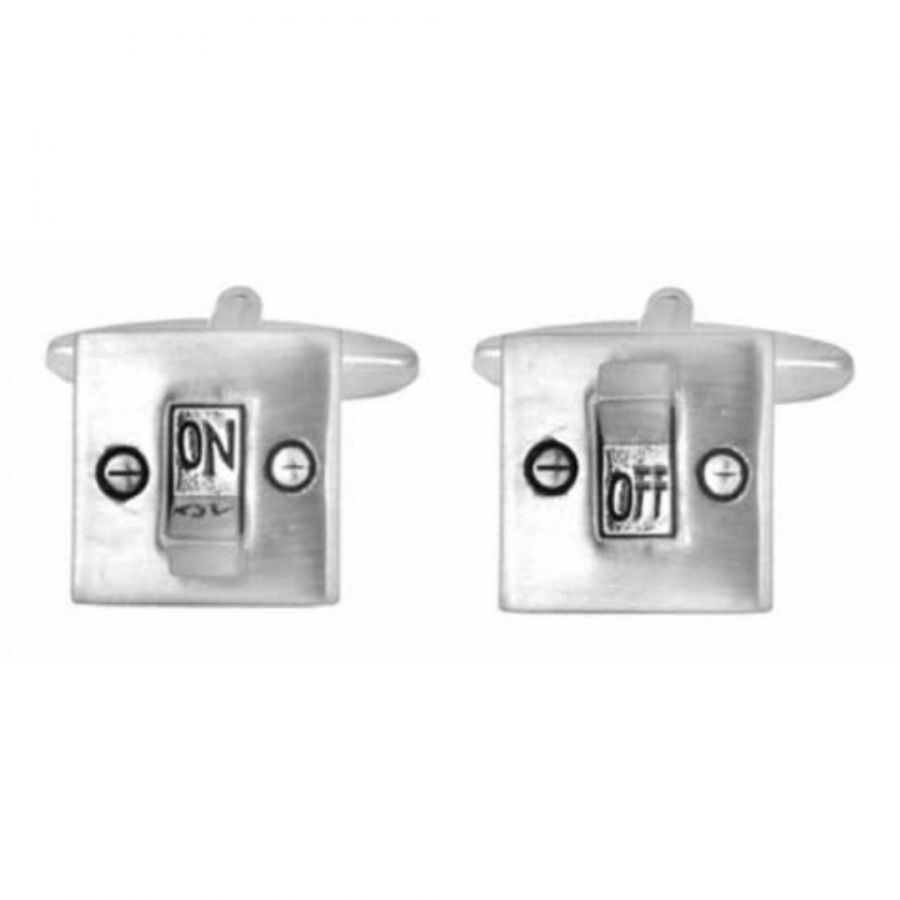 Rhodium Plated On & Off Switch Cufflinks