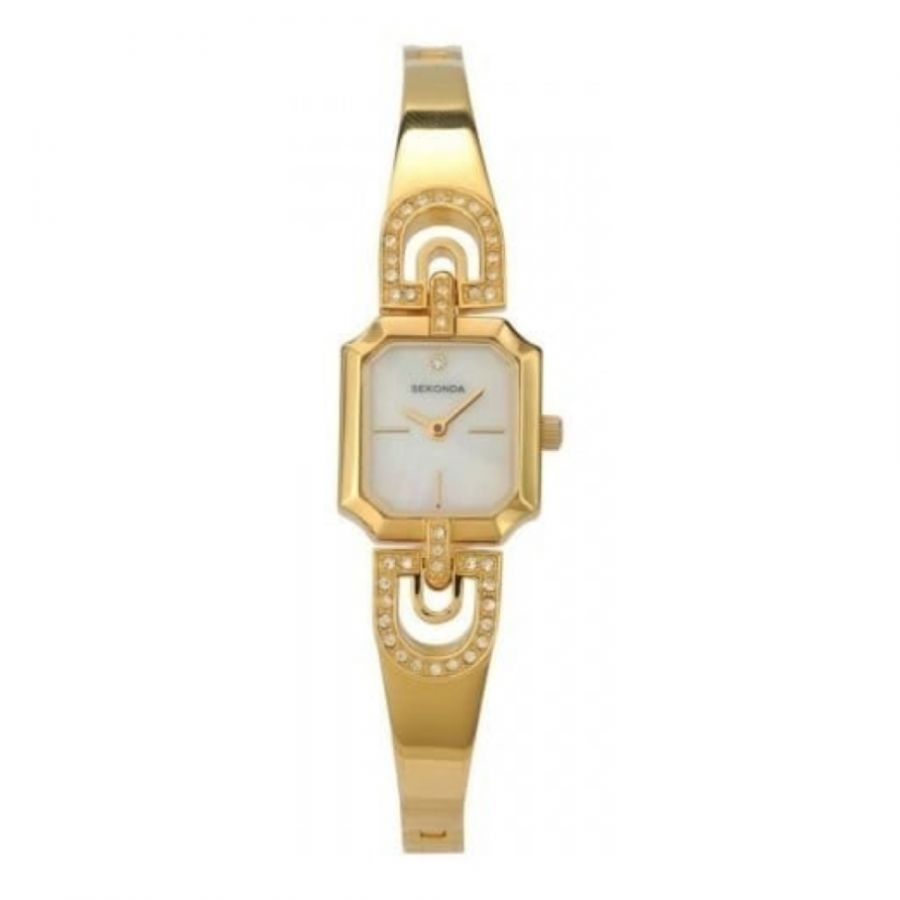 Ladies White Mother Of Pearl Dial Gold Plated Alloy Semi Bangle Watch