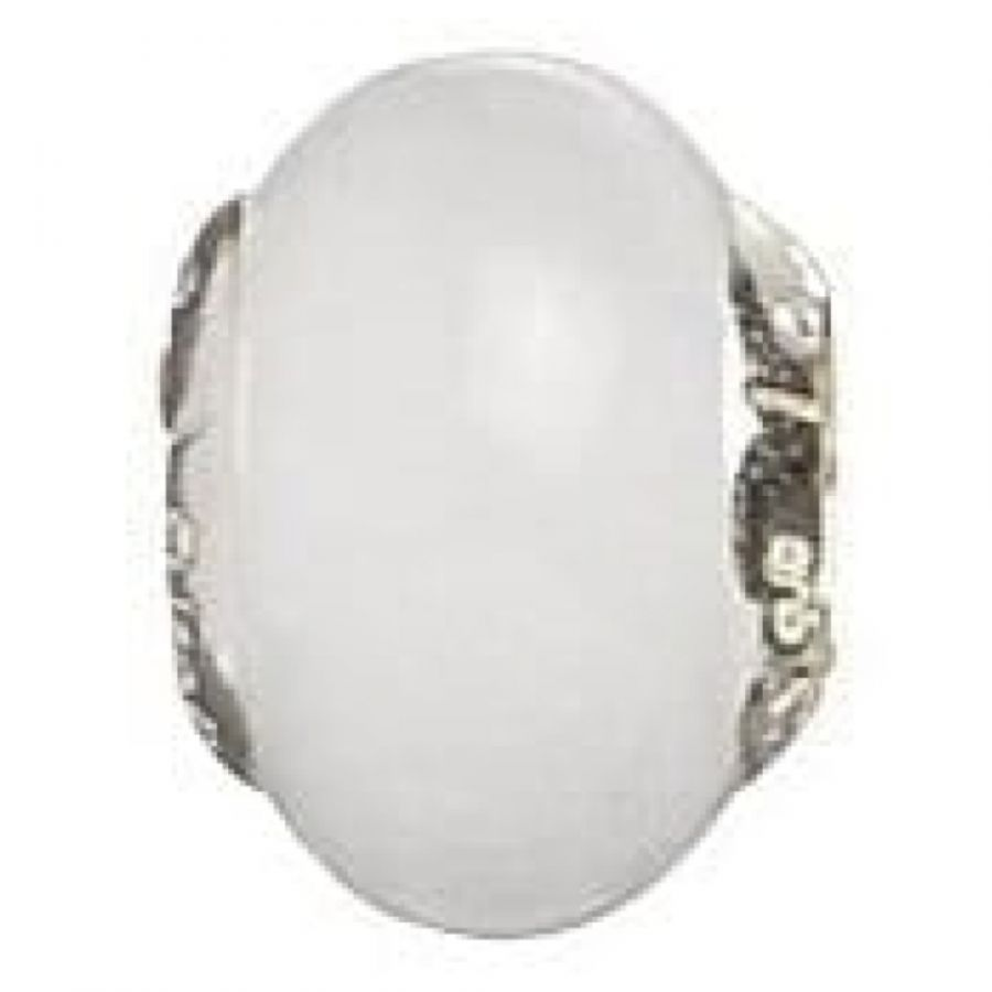 Sterling Silver 'White' Murano Glass Link