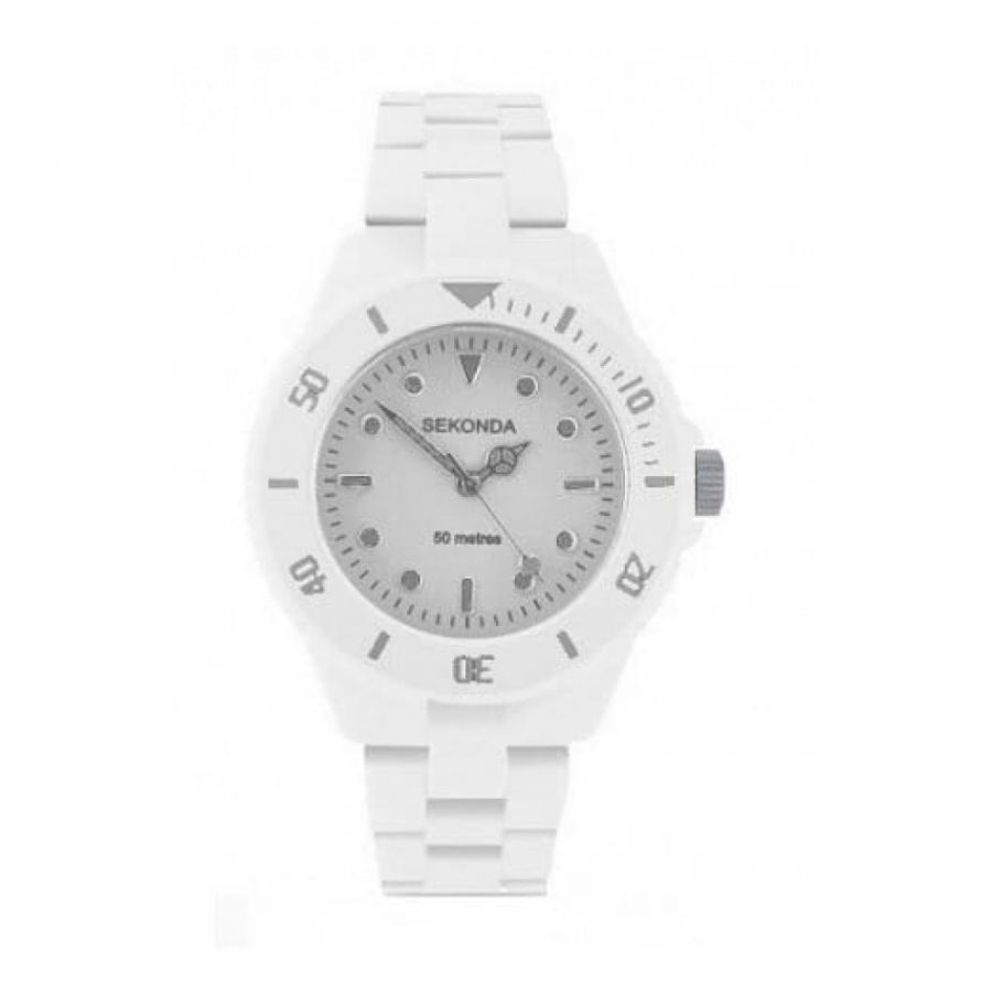 Ladies Icy White Polycarbonate Strap Watch