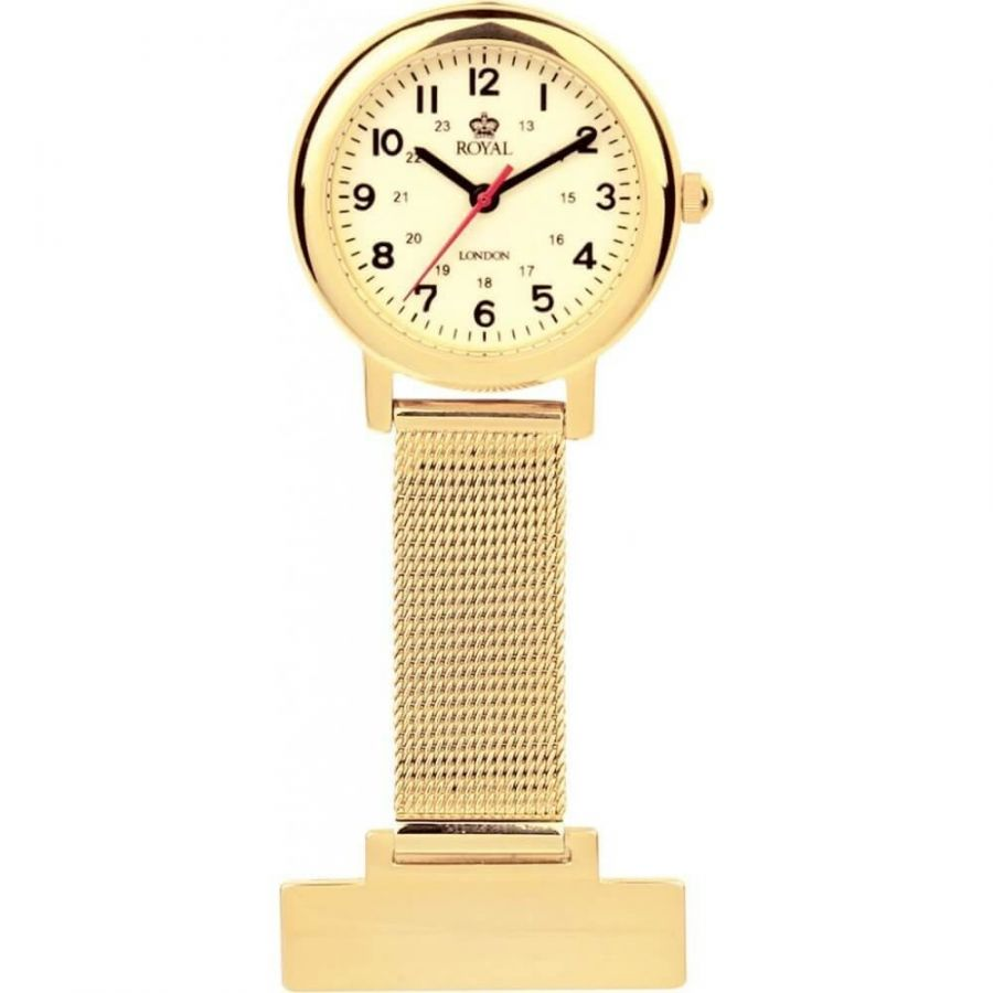 Gold Plated Cream Face Fob Watch