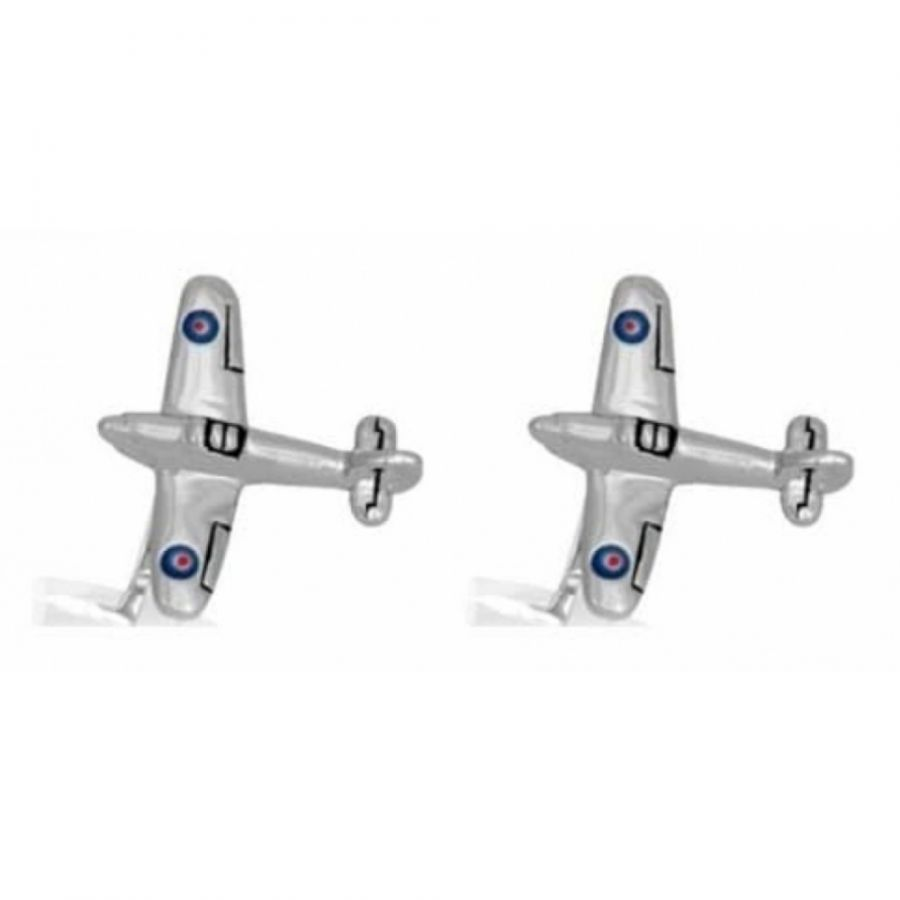Rhodium Plated Hurricane Airplanes Cufflinks