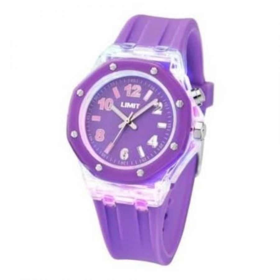 Ladies Strobe Lilac Rubber Watch With Light Effects