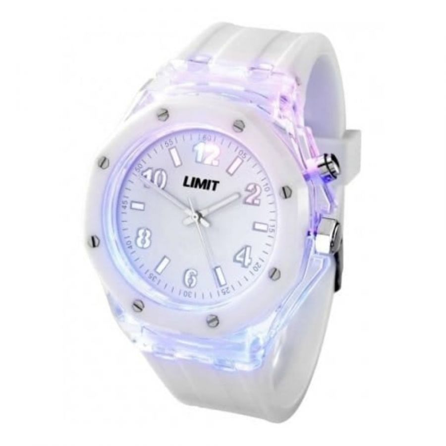 Gents Strobe White Rubber Watch With Light Effect