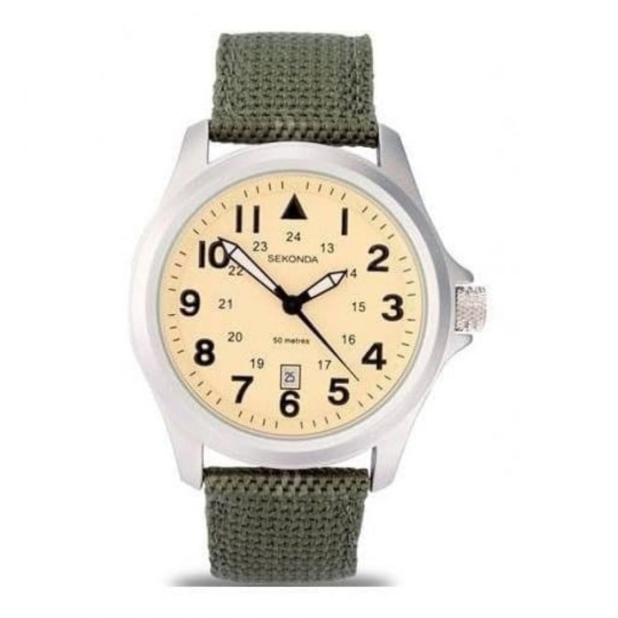 Gents Green Fabric & Beige Dial Strap Watch