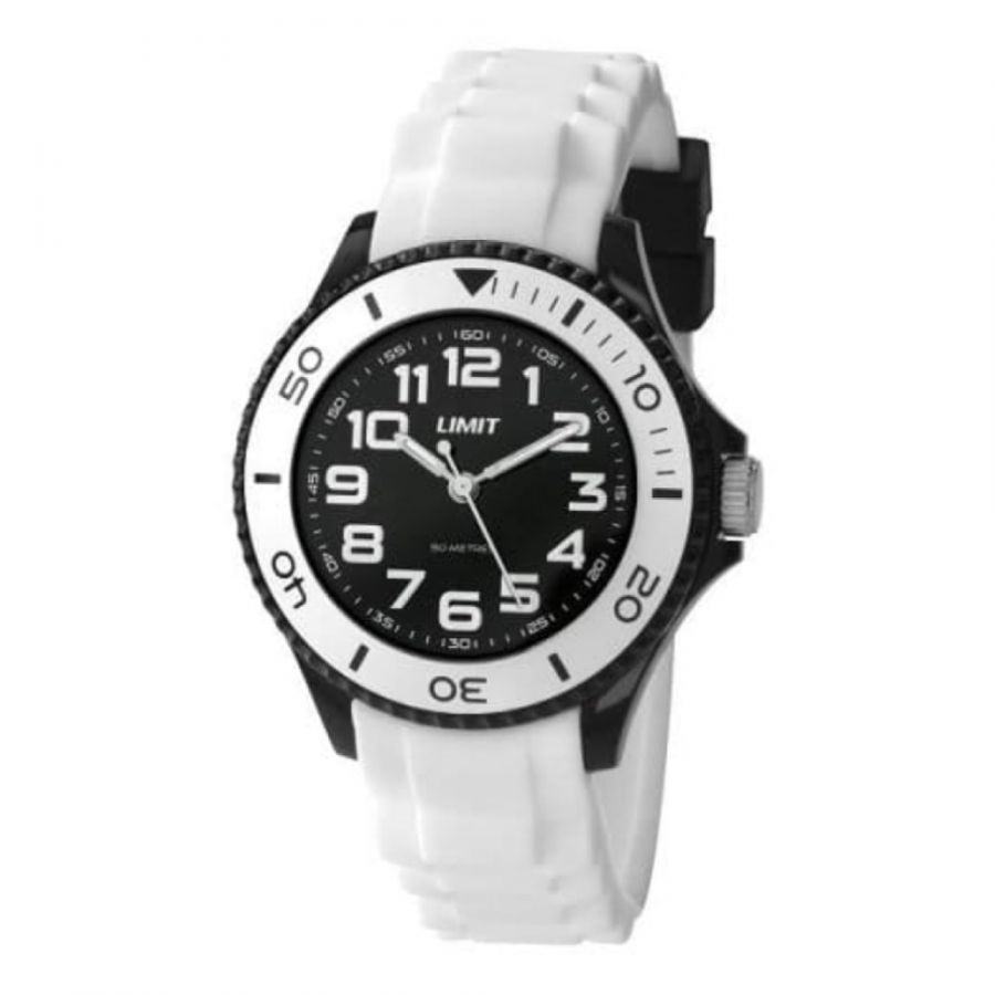 Small White Silicone Strap Watch & Black Dial