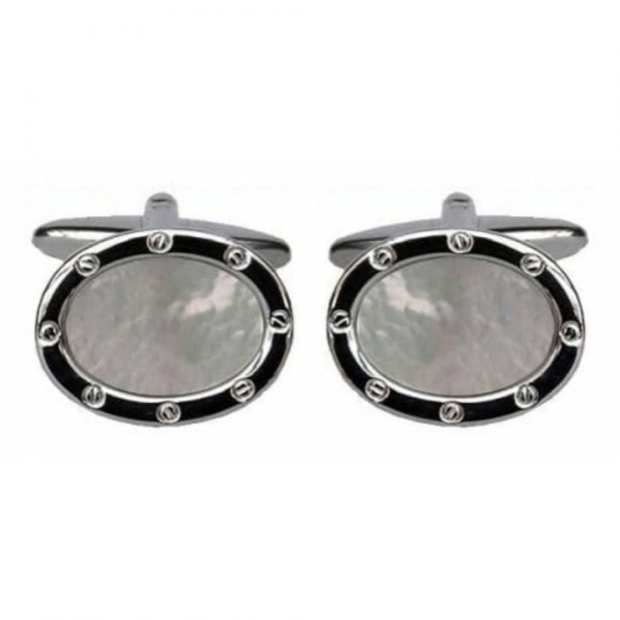 Gents Oval Rhodium Mother Of Pearl Cufflinks