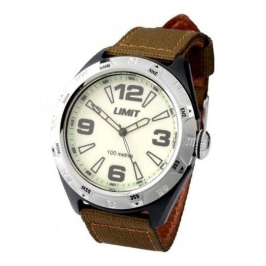 Gents Circular Fabric On Leather Olive Strap Watch