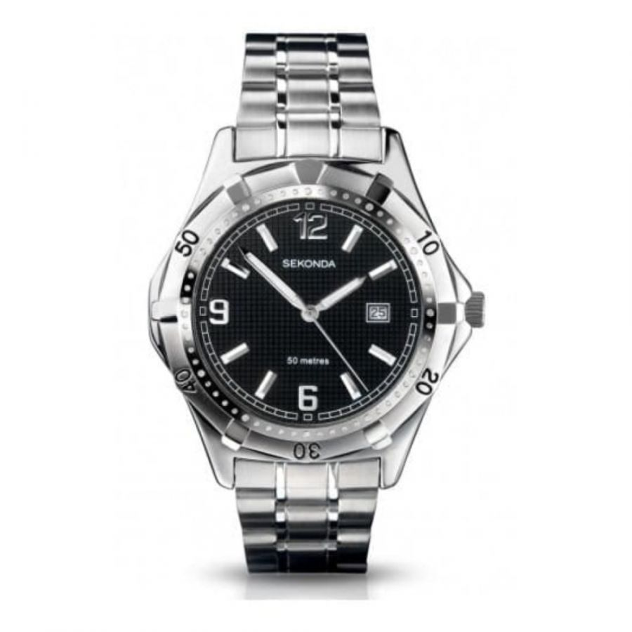 Gents Stainless Steel Watch & Black Dial Watch