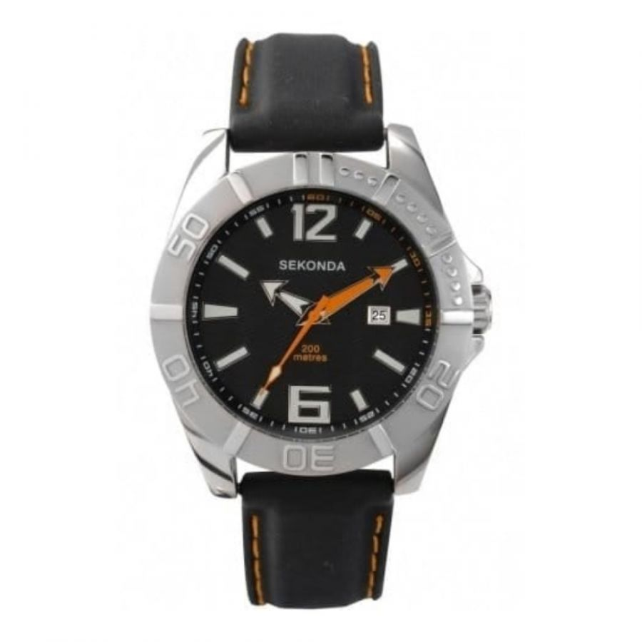 Men's Black Dial and Rubber Strap Watch