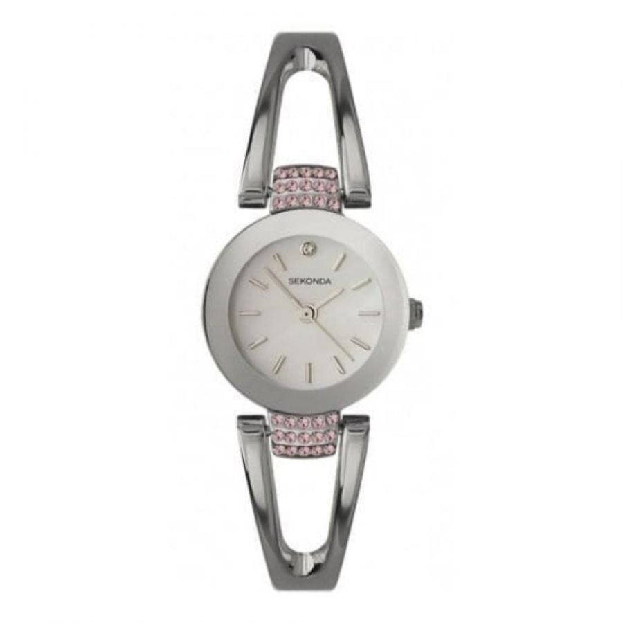 Ladies Stainless Steel With Pink Cubic Zironia Watch