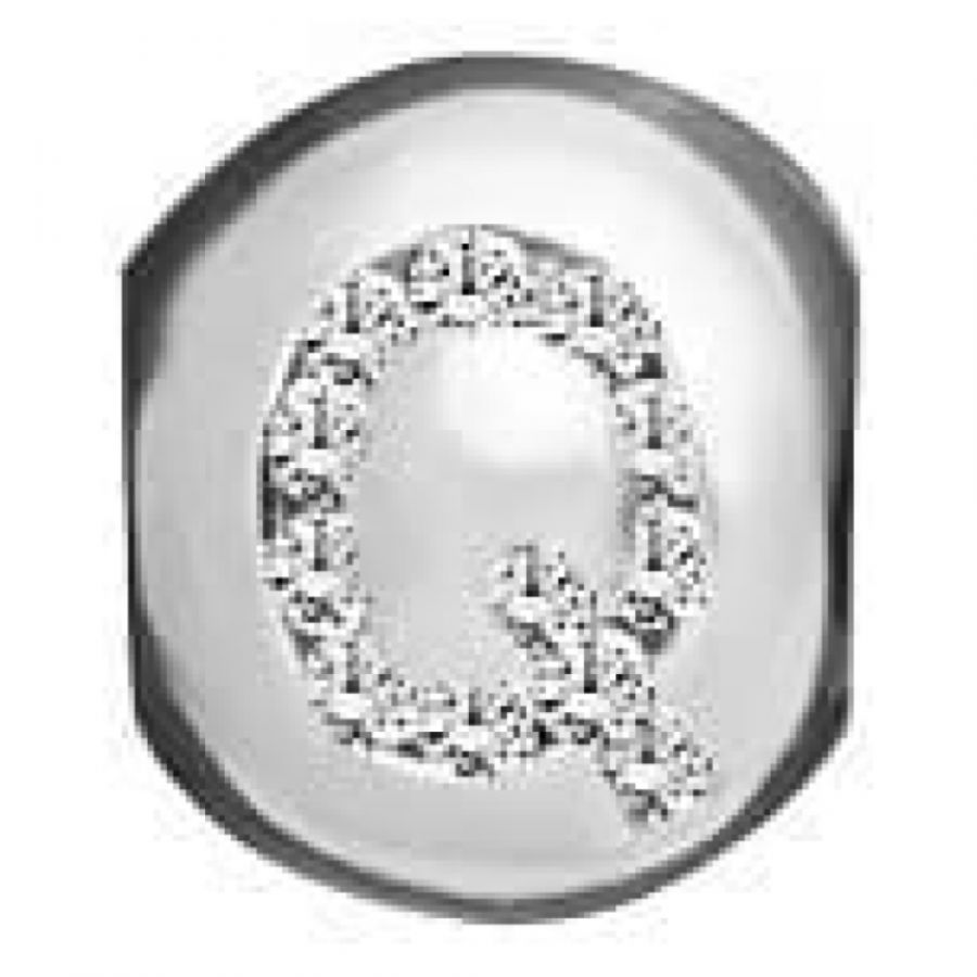 Sterling Silver And Synth. Cubic Zirconia 'Q' Letter Link