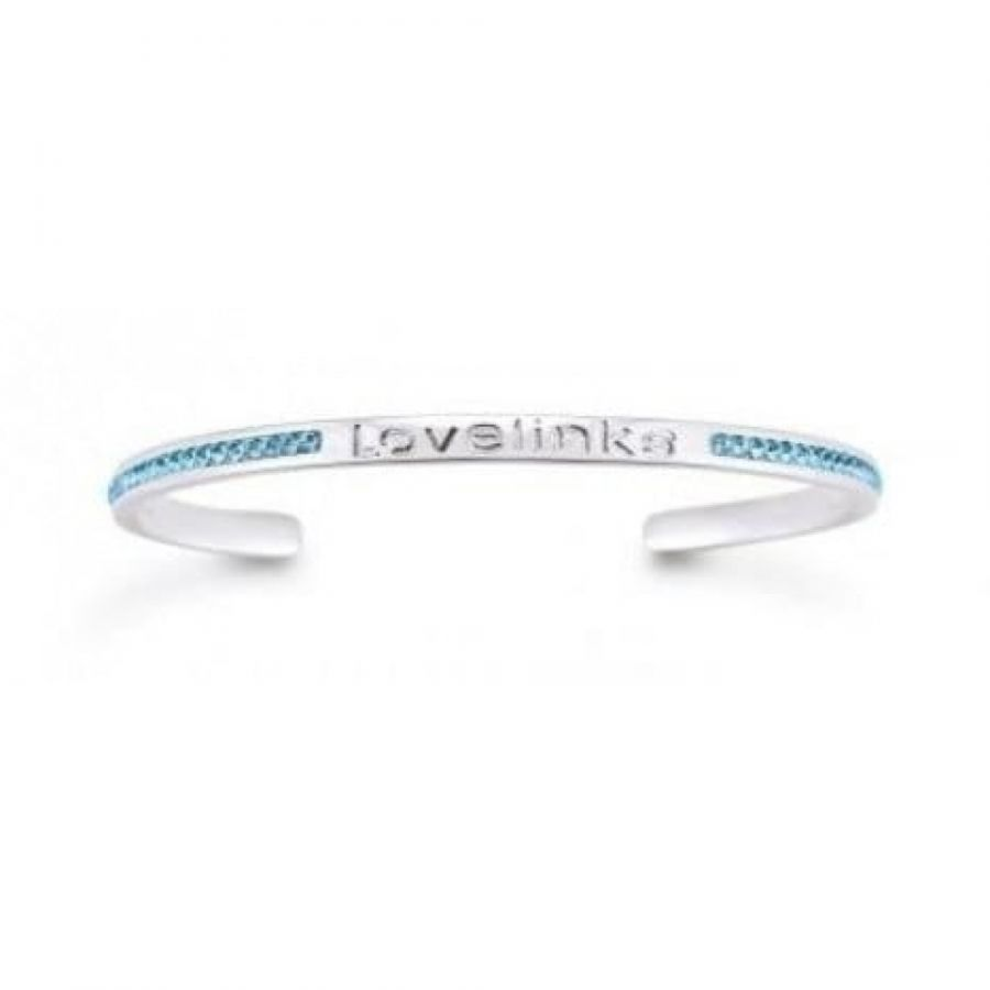 Sterling Silver With Blue Crystal Bangle