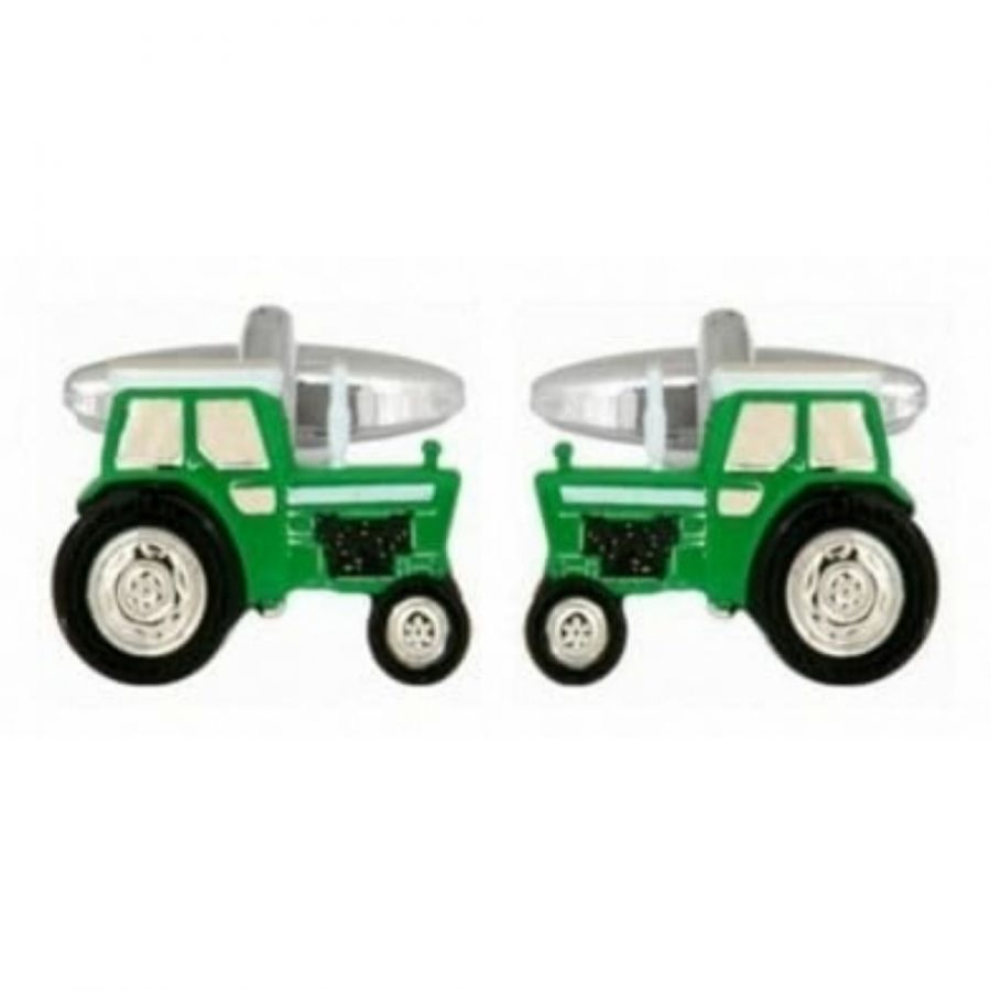 Rhodium Plated Green Tractor Cufflinks