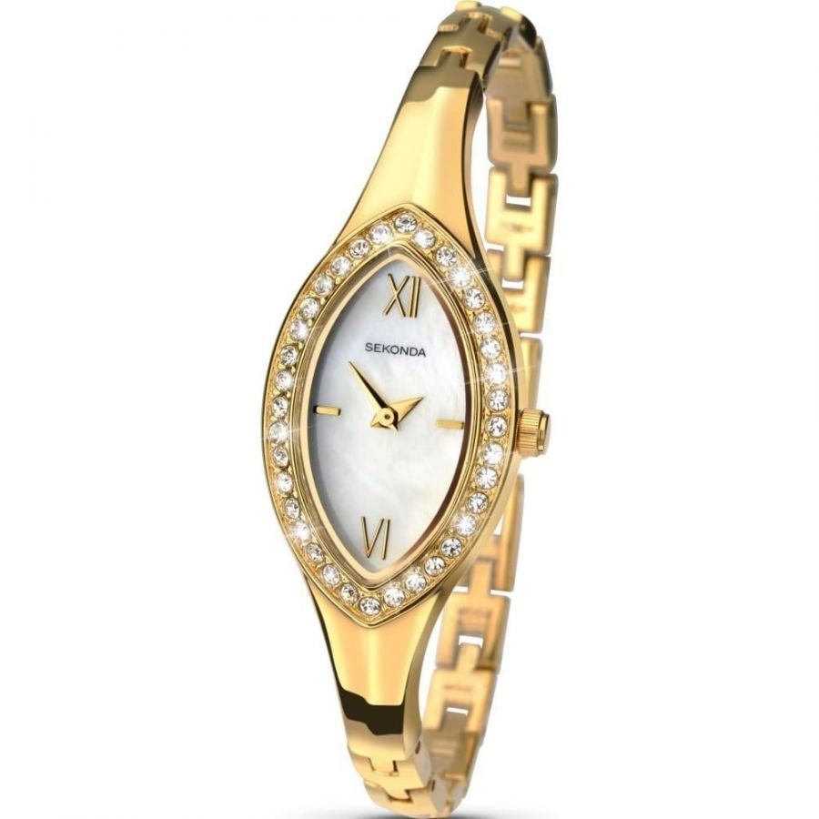 Ladies' Stainless Steel Gold Plated Bangle/Bracelet Watch