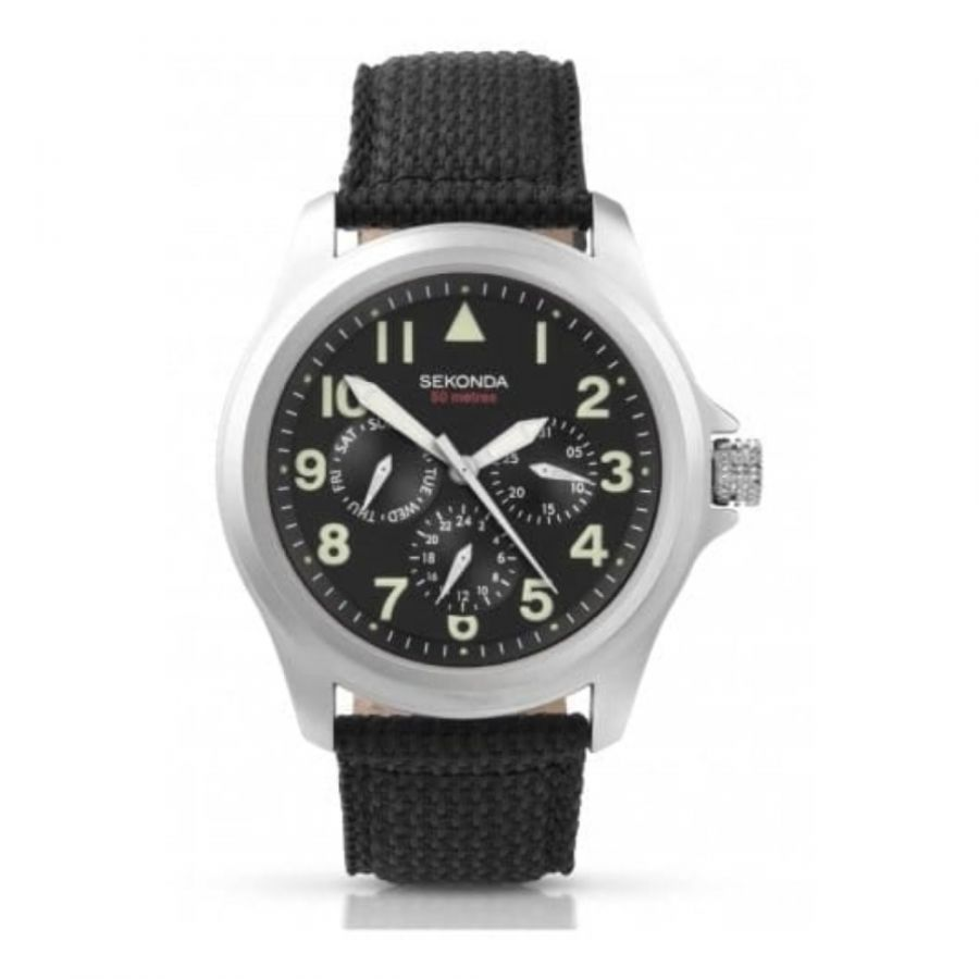 Gents Black Fabric Watch & Multifunctional Dial