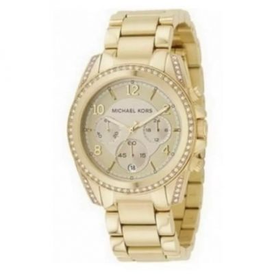 Michael Kors Ladies Gold Plated Stainless Steel Bracelet Watch With Crystals.  Product Code :- MK5166 #watches #goldwatches #michaelkors #ladieswatches #edmondsjewellerscoventry